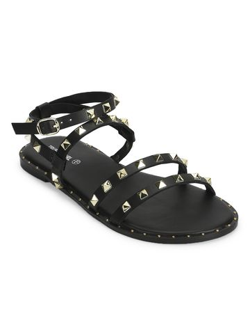 Truffle Collection | Black PU Studded Flat Sandals
