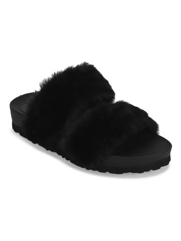 Truffle Collection   Black Furry Slip Ons