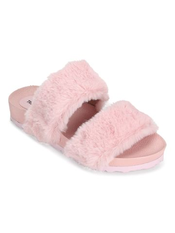 Truffle Collection   Pink Furry Slip Ons