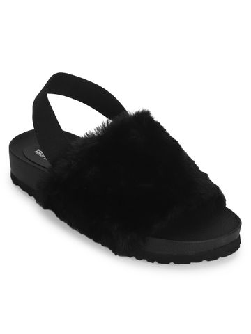 Truffle Collection   Black Fur Slip Ons With Back Strap