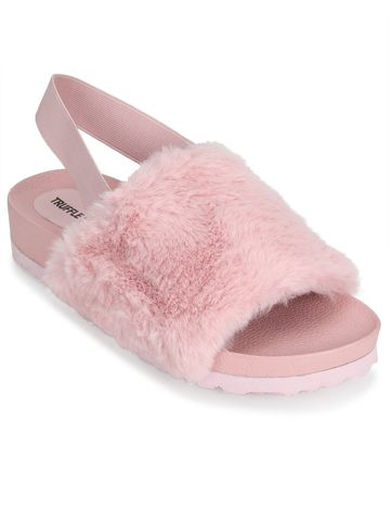 Truffle Collection   Pink Fur Slip Ons With Back Strap