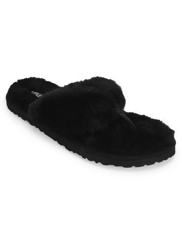 Truffle Collection   Black Fur Flip Flops