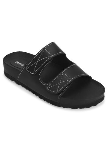 Truffle Collection   Black PU Slip Ons With Front Straps