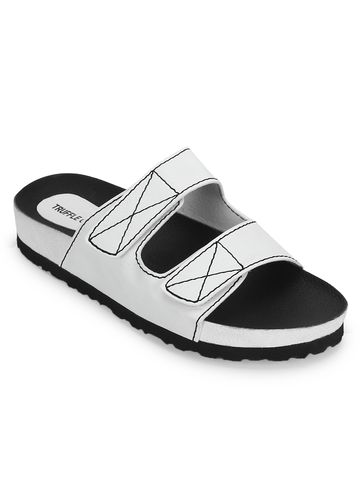 Truffle Collection   White PU Slips Ons With Front Straps
