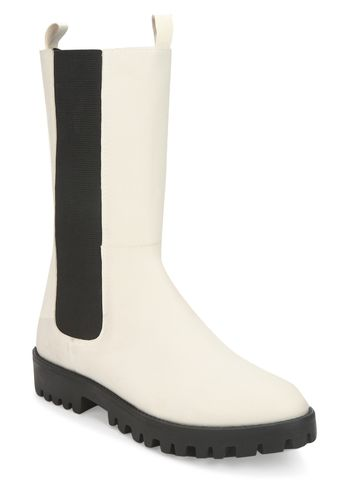 Truffle Collection | White PU Slide On Calf Length Boots