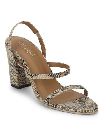 Truffle Collection | Beige PU Snake Pattern Strappy Sandals