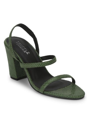 Truffle Collection | Green PU Snake Pattern Strappy Sandals