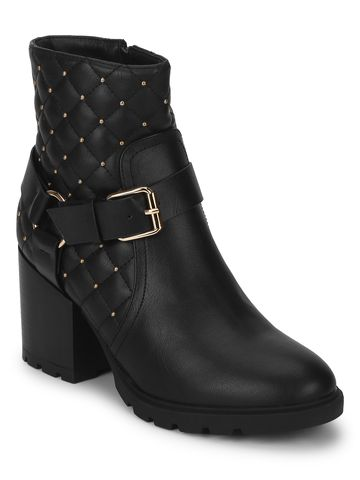 Truffle Collection | Yasmin Black PU Buckled Ankle Boots