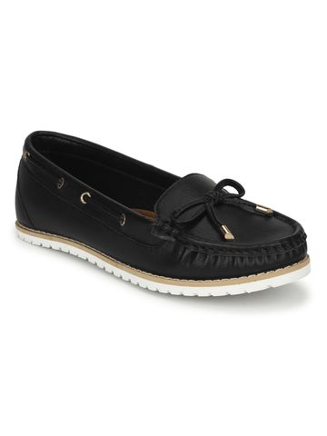 Truffle Collection | Black PU Flat Belly Shoes