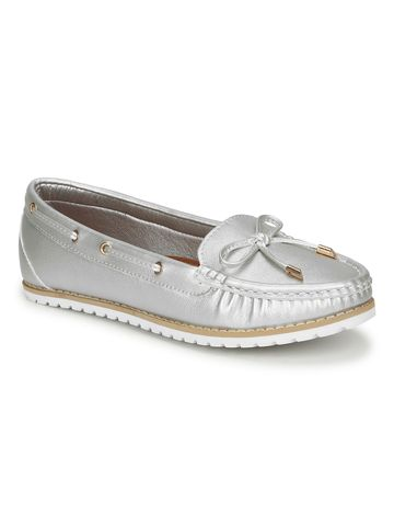 Truffle Collection | Silver PU Flat Belly Shoes