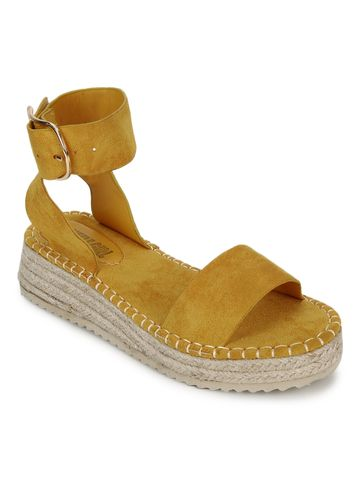 Truffle Collection | Yellow Suede Wedges Sandals With Jute Sole