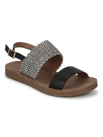Truffle Collection | Black PU Flat Sandals With Back Strap