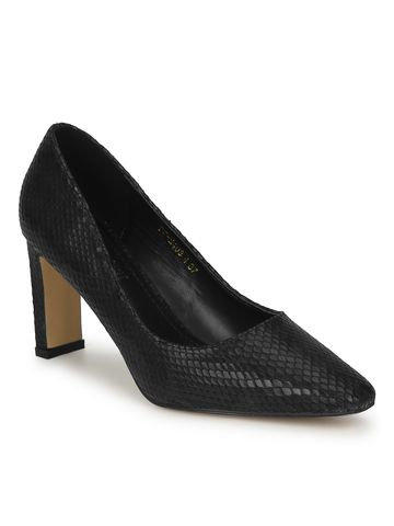 Truffle Collection | Black PU Snake Pattern Slim Block Heel Pumps