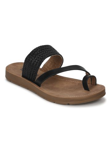 Truffle Collection | Black PU Flat Slip Ons