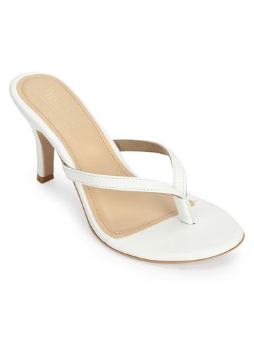 Truffle Collection | White PU Slip On High Heel Mules