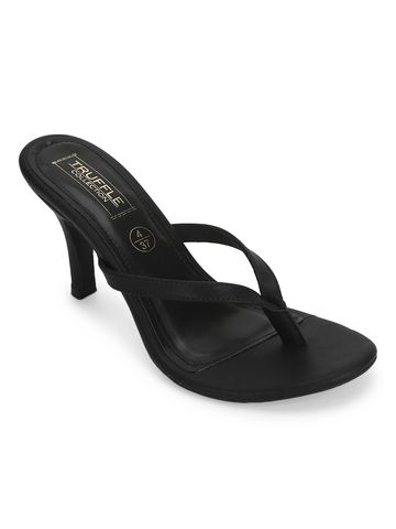 Truffle Collection | Black Satin Slip On High Heel Mules