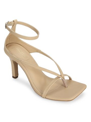 Truffle Collection | Beige PU Stilettos with Ankle Strap