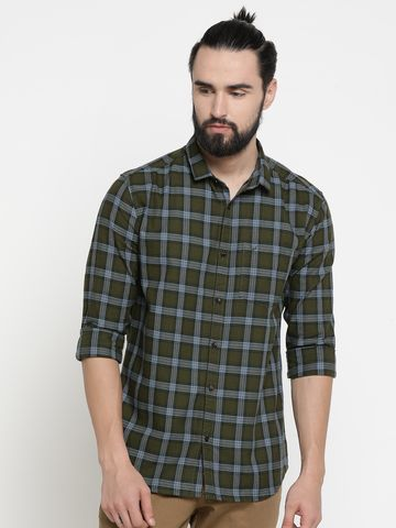 Showoff | Green Showoff Mens Cotton Checked  Slim Casual Shirts