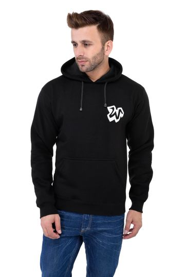 Weardo | Black Stylish W Printed Hooded Sweatshirt