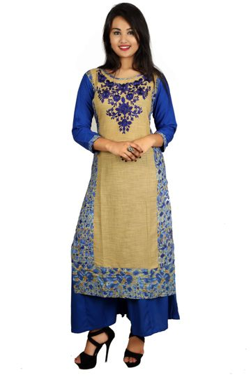 V Brown | BLUE EMBROIDERY COTTON 3/4 SLEEVE STRAIGHT KURTA WITH BLUE RAYON PALAZZO