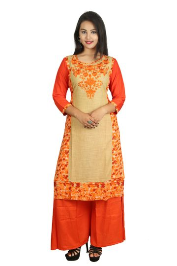 V Brown | ORANGE EMBROIDERY COTTON 3/4 SLEEVE STRAIGHT KURTA WITH BLUE ORANGE PALAZZO