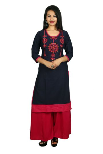 V Brown | BLUE EMBROIDERY RAYON 3/4 SLEEVE STRAIGHT KURTA WITH PINK BLUE PALAZZO
