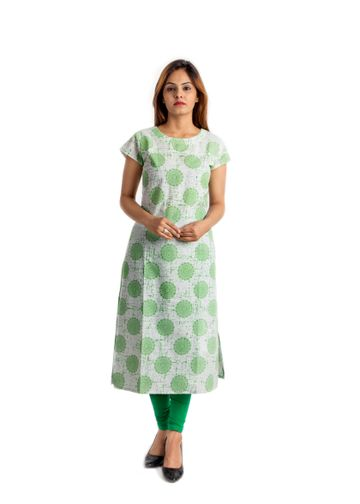 V Brown | GREEN PRINTED COTTON CAP SLEEVE STRAIGHT KURTA
