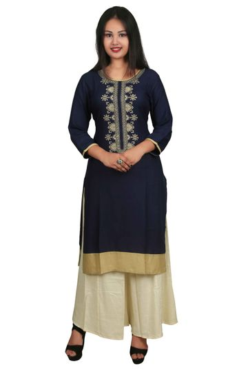 V Brown | BLUE EMBROIDERY RAYON 3/4 SLEEVE STRAIGHT KURTA WITH BEIGE RAYON PALAZZO