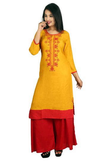 V Brown | MUSTUARD EMBROIDERY RAYON 3/4 SLEEVE STRAIGHT KURTA WITH RED RAYON PALAZZO