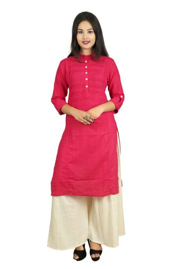 V Brown | PINK SOLID PRINTEX COTTON 3/4 SLEEVE STRAIGHT KURTA WITH BEIGE RAYON PALAZZO