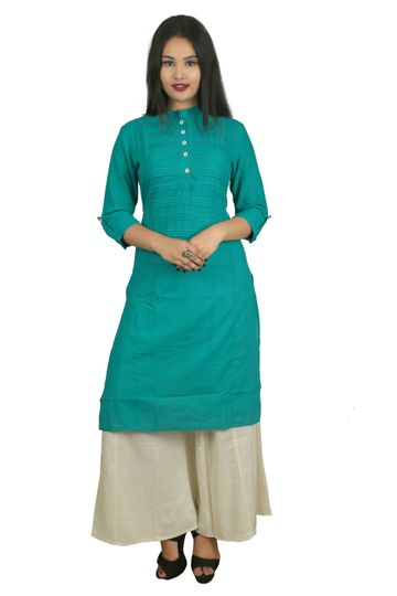 V Brown | TOURQUOISE SOLID PRINTEX COTTON 3/4 SLEEVE STRAIGHT KURTA WITH BEIGE RAYON PALAZZO