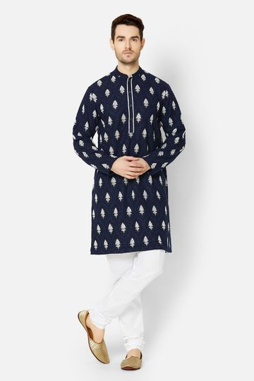 Ethnicity | Navy Georgette embroidered kurta