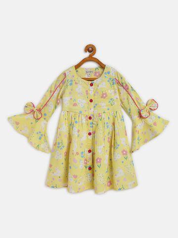 Bellamoda | Bella Moda A line, Fit & Flair, Casual Dress, For Girls, Yellow,12 - 18 Months