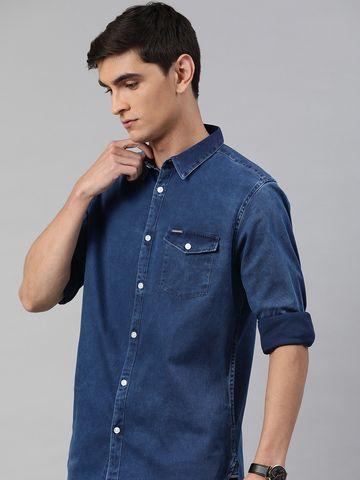 The Bear House | Men's Blue Denim One Pocket Shirt