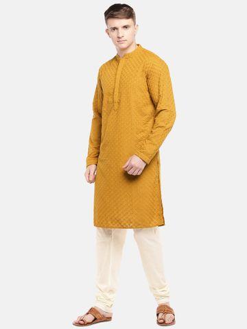 Ethnicity | Ethnicity Mustard Polyester Cotton Men Kp Set