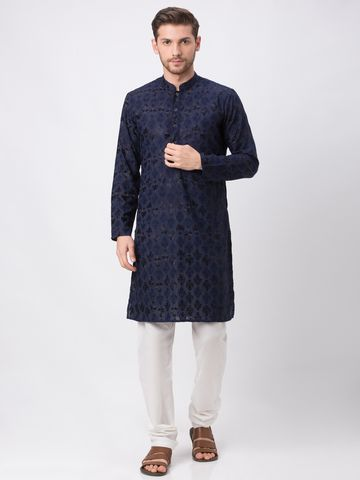 Ethnicity | Ethnicity Navy Polyester Cotton Men Kp Set
