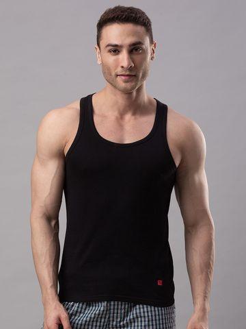 spykar | Underjeans Black 100% Cotton Vest (Round Neck)
