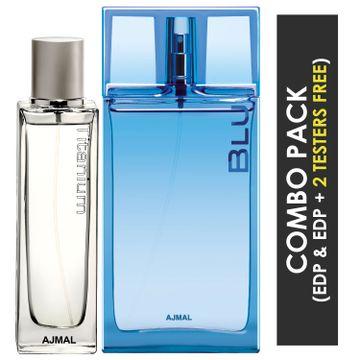 Ajmal | Ajmal Titanium EDP Citrus Spicy Perfume 100ml for Men and Blu EDP Aquatic Woody Perfume 90ml for Men + 2 Parfum Testers FREE