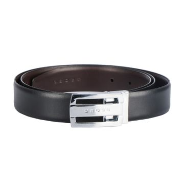 Turtle | Mens Leathher Belt - 30mm flat shiny nickel finish buckle with  leather strap finish(Reversible), Cut-to Fit style.