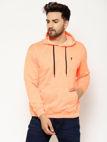 Eppe | Eppe Men's Orange Polyester Blend Lightweight Full Sleeves Pullover Fleece Hoodie with Drawstring Kangaroo Pockets Sweatshirt