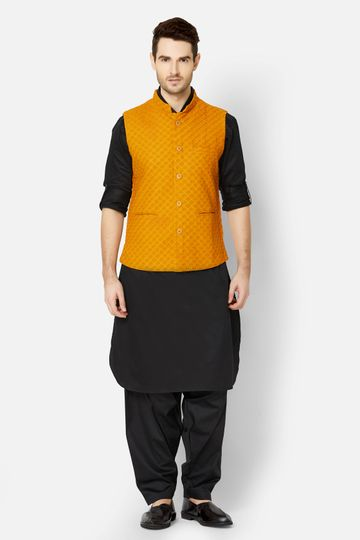Ethnicity | Mustard embroidered sleeveless jacket