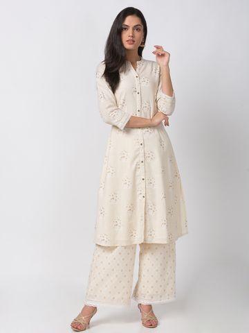 Ethnicity   Ethnicity Cotton A Line Women Beige Kurta
