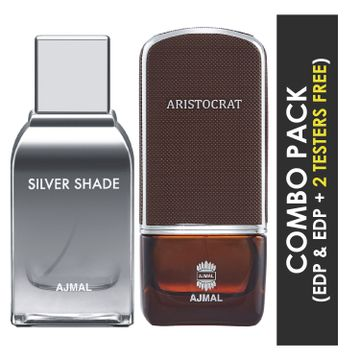 Ajmal | Ajmal Silver Shade EDP Citrus Woody Perfume 100ml for Men and Aristocrat EDP Citrus Woody Perfume 75ml for Men + 2 Parfum Testers FREE