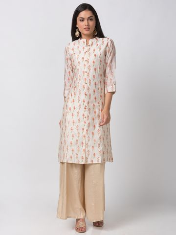 Ethnicity | Ethnicity Lemon Yellow Blended Women Kurta