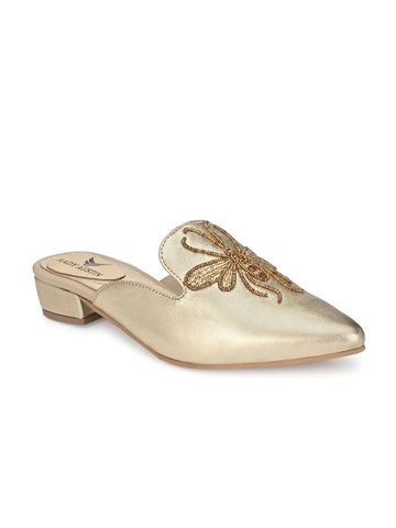 AADY AUSTIN | Aady Austin Women's Trendy Gold Pointed Toe Block Heel