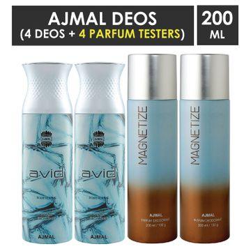 Ajmal | Ajmal 2 Avid for Men and 2 Magnetize for Men & Women High Quality Deodorants each 200ML Combo pack of 4 (Total 800ML) + 4 Parfum Testers