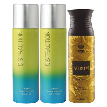 Ajmal | Ajmal 2 Distraction for Men & Women and 1 Aurum Femme for Women High Quality Deodorants each 200ML Combo pack of 3 (Total 600ML) + 3 Parfum Testers