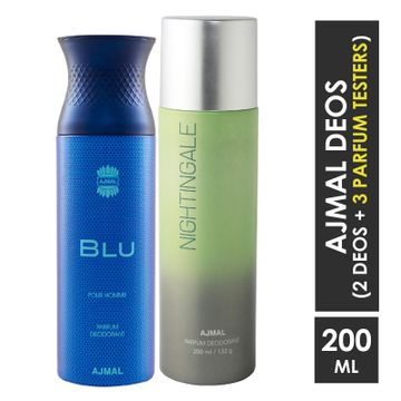 Ajmal | Ajmal Blu Homme for Men and Nightingale for Men & Women High Quality Deodorants each 200ML Combo pack of 2 (Total 400ML) + 3 Parfum Testers