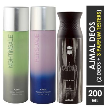 Ajmal | Ajmal Nightingale and Persuade for Men & Women and Carbon for Men High Quality Deodorants each 200ML Combo pack of 3 (Total 600ML) + 3 Parfum Testers