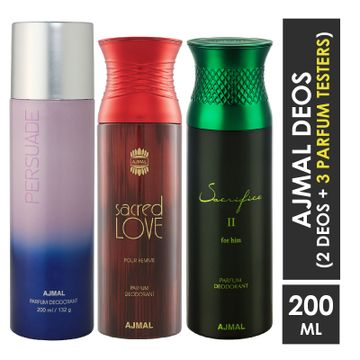 Ajmal | Ajmal 1 Persuade for Men & Women, 1 Sacred Love for Women and 1 Sacrifice II for Him for Men High Quality Deodorants each 200ML Combo pack of 3 (Total 600ML) + 3 Parfum Testers